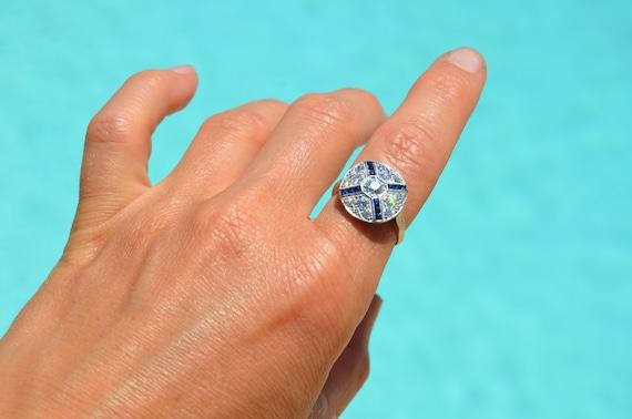 Antique Platinum Diamond and Sapphire Gemstone Rin