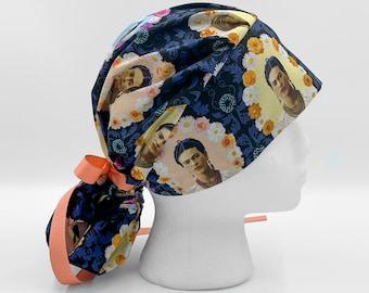 Frida Khalo Modern Surgical Scrub cap with buttons Scrub cap Multi colored Scrub cap Surgical cap women Scrub cap for woman Nurse Cap