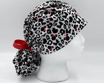 Disney Minnie Mouse Scrub Cap Pink and Black with Adjustable Cloth Ties Valentine/'s Day Pink Surgical Cap Disney Scrub Hat