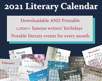 2021 Literary Calendar   Downloadable, Printable