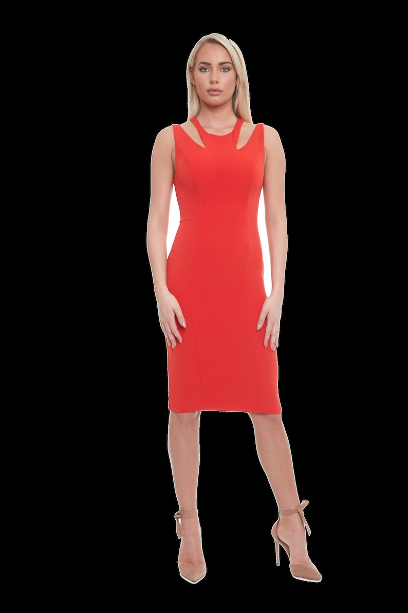 Cocktail dress in color Tangerine by Posh Couture