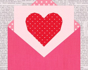 Love Letter, Valentine, Foundation Paper Piecing Pattern (FPP), Quilt Block, PDF Pattern, 3 sizes