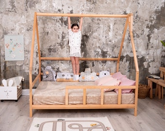Montessori furniture Toddler bed Modern kids Full bed frame Children home Wood house Unique bed ideas