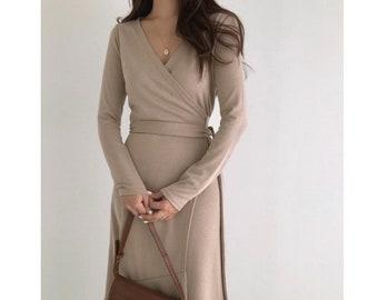 Wrap dress / Kimono wrap dress / Wrap mood dress / Shirring dress / Shirring mood dress / Wrap tie dress / Romantic mood dress