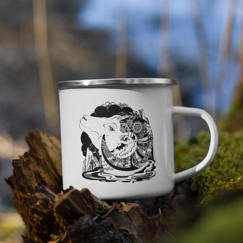 Mouflon Enamel Mug  Camping Mug Camp Mug Outdoor Mug image 0