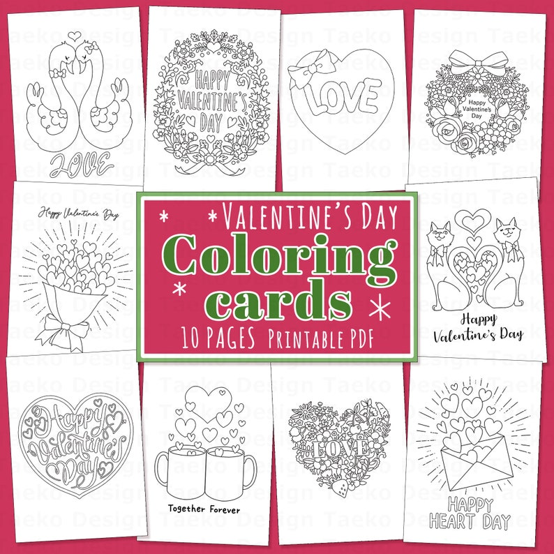 Valentines Day Coloring Cards  10 Printable Coloring Pages image 0