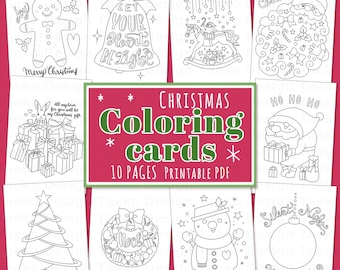 Happy Christmas Coloring Cards - Coloring Pages, 10 Printable Coloring Pages, Instant Download, PDF