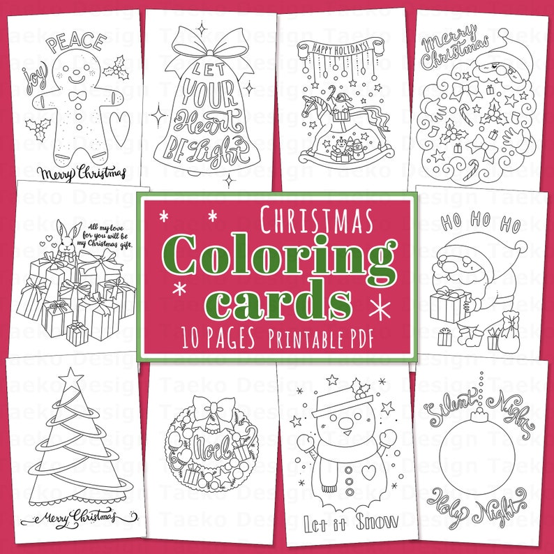 Happy Christmas Coloring Cards  Coloring Pages 10 Printable image 1