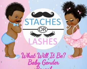 Gender Reveal Invitation Staches or Lashes Theme, Baby Shower, African American Babies
