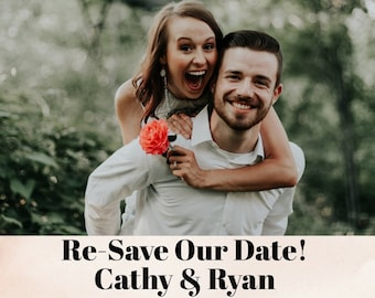 Save-the-date card, Postponed Date Wedding Card - Replace our photo with yours
