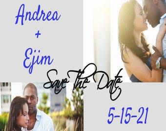 Save The Date Template With Photo, Wedding Announcement, Digital Download- Replace our photos with yours