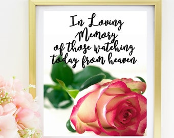 In Loving Memory Sign Printable | Wedding Memorial Sign Editable Minimalist | 8x10 sign | Instant download