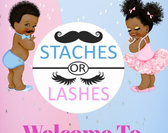 Lashes and Staches Welcome Sign, Baby Gender Reveal Welcome Sign , African American Babies, Instant Download