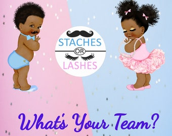 Gender Reveal Sign Lashes or Staches, Baby Shower Sign, African American Babies, Instant Download