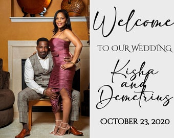 Wedding welcome sign with photo printable personalized, custom entrance welcome photo sign for wedding, birthday, etc.
