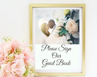 Wedding Guest Book Sign with Photo - Replace our photo with yours, we will edit the photo for you!