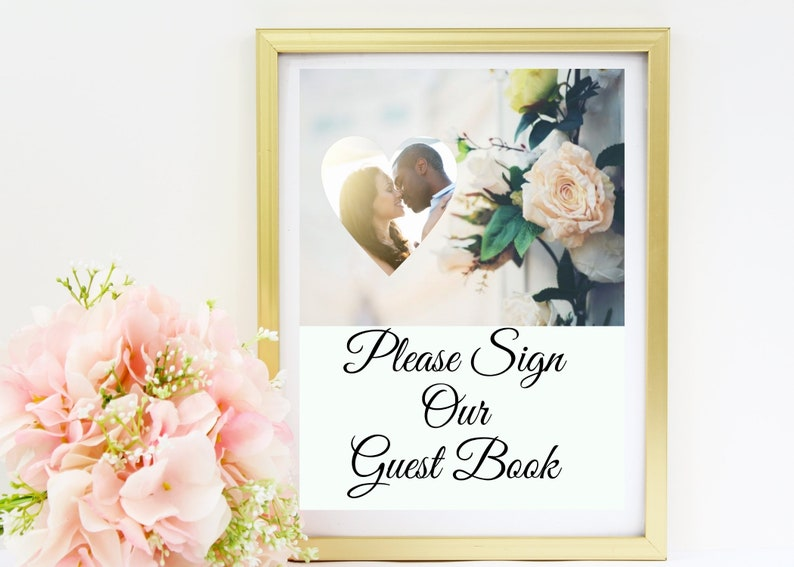 Wedding Guest Book Sign with Photo  Replace our photo with image 0