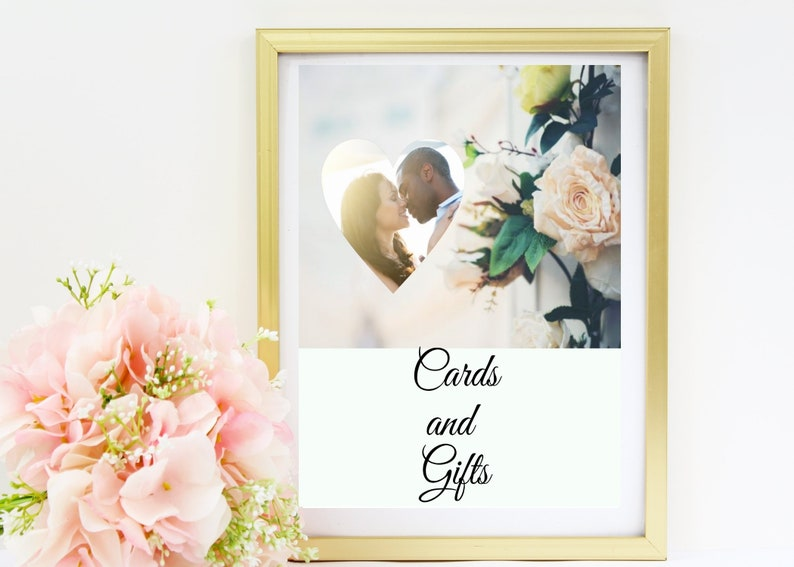 Wedding Cards and Gifts Sign  Replace our photo with yours image 0