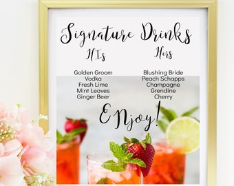 Our Signature Drinks Printable Sign, Signature Drink Sign Template, Signature Cocktail Sign Wedding, Custom Wedding Bar, DIY Signs