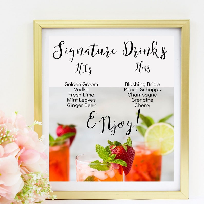 Our Signature Drinks Printable Sign Signature Drink Sign image 0