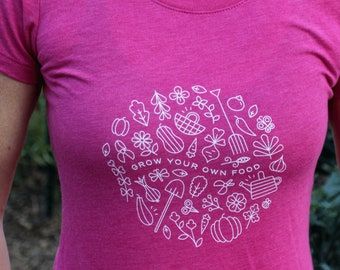 Gardening tee, Farm girl shirt, Grow Your Own Food, Garden shirt women, Garden gift idea, Foodie gift, Garden gift for women, gift for mom