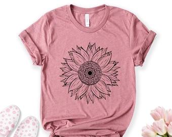 Sunflower Shirt, Flower Shirt, Garden Shirt, Wild Flower Shirt, Fall Shirt, Boho Shirt, Floral T-shirt, Spring Shirt, Womens Sunflower Gift