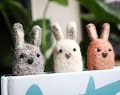 Woolly Bunny Bookmark - Needle Felt Felted Handmade Wool Rabbit Book Reading Marker Mark Sister Girlfriend Wife Birthday Easter Gift