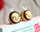Woolly Bumble Bee Bookmark - Needle Felt Felted Handmade Wool Book Accessory Reading Marker Mark Sister Girlfriend Birthday Teacher Gift