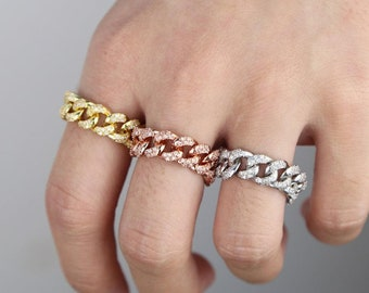 14k Rose Yellow Black Plated Gold 925 Solid Sterling Silver Pave Cuban Ring,CZ Cuban link Ring Sale Best Selling