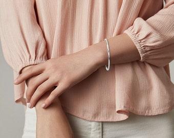 14K Solid Gold Women Minimalist Stacking Bangle 1.9mm Bead Cuff Bracelet