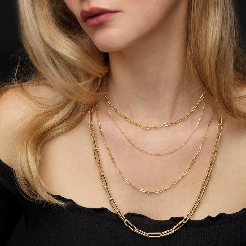 Layering Necklace Minimalist 14K Solid Rose Gold Paperclip Necklace 1.5mm,Adjustable Necklace Rectangular link Thin Dainty Link Chain