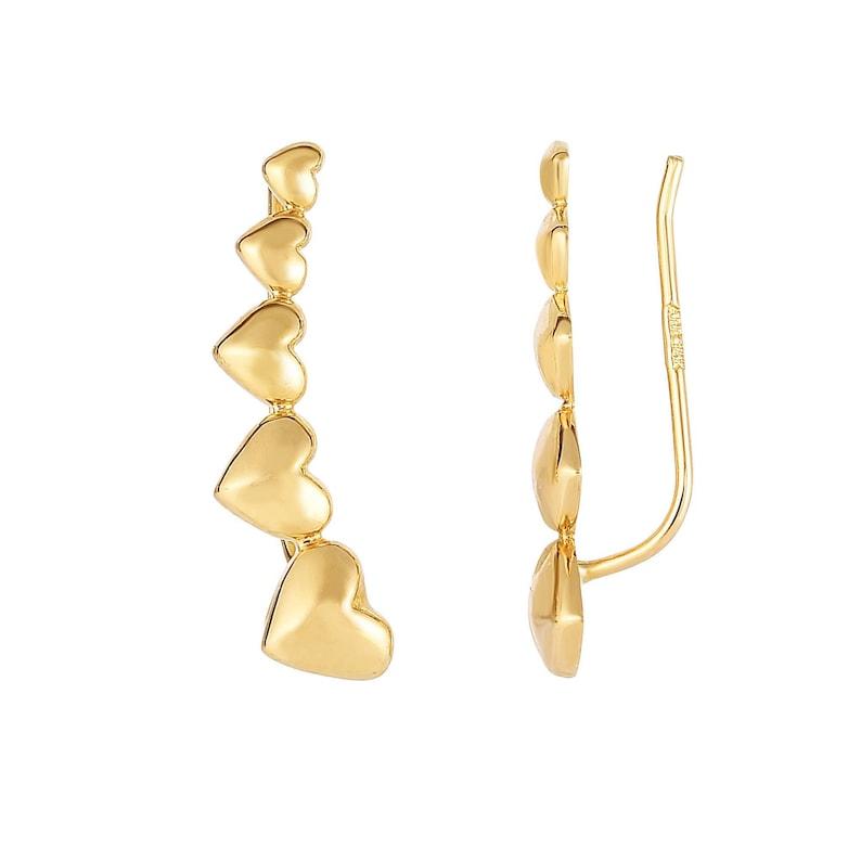 14K Yellow Gold 23mm X 6mm Shiny Graduated Heart Series Ear Climber Fancy Earring Women/'s Ear Climber Earrings Birthday Gift Love