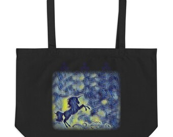 Starry Night Unicorn large tote