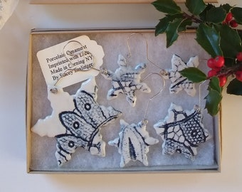 Snowflake Ornament Set with dark Lace Detail by Stacey Esslinger