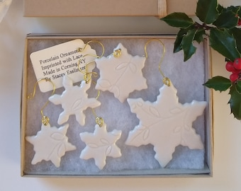 White Snowflake Ornament Set by Stacey Esslinger