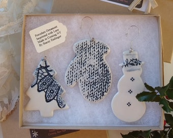 Ornament Set with dark Lace Detail by Stacey Esslinger