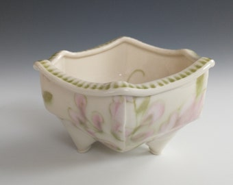 Small Porcelain Slab Built 3-Footed Bowl with Pink Flower by Stacey Esslinger