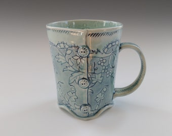 Porcelain Slab Built Floral Teacup with Button Detail by Stacey Esslinger