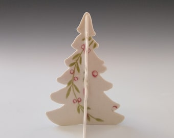 Small Porcelain Tree with Red and Green by Stacey Esslinger