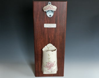 Wall Mounted Bottle Opener and Cap Catcher by Stacey Esslinger