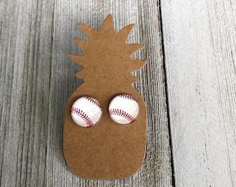 Baseball Earrings/ Baseball Stud Earrings/ Baseball Studs/ Baseball Mom Earrings