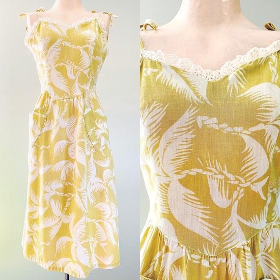 1940s 1950s Vintage Yellow Cotton Summer Sun Dress