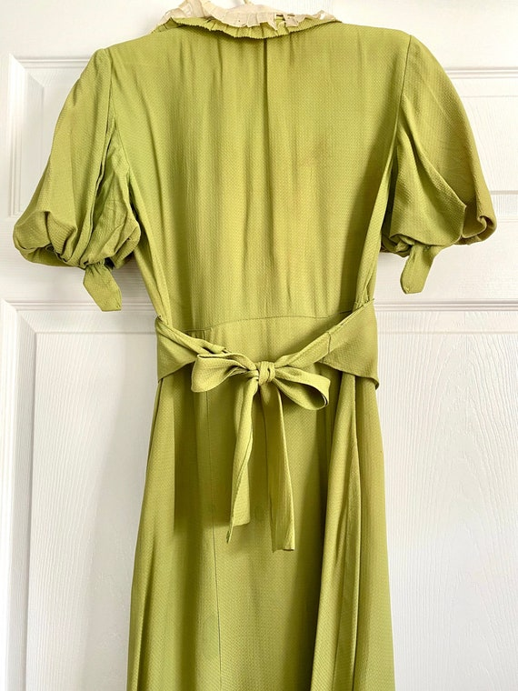 1930s Vintage Chartreuse Lime Green Dress Contrast