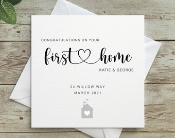Personalised Congratulations on your First Home Card, First Home, Congratulations, First Home, 1st home, Personalised Card