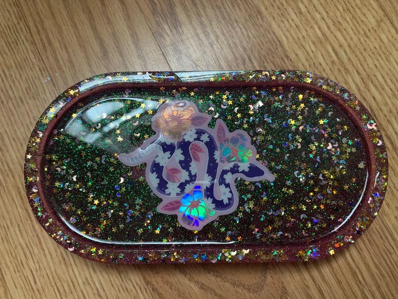 Floral Lunar Holographic Snake Glitter Resin Trinket Tray Dish