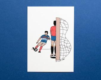 Postcard / Illustration - Michel Platini, 27 June 1984