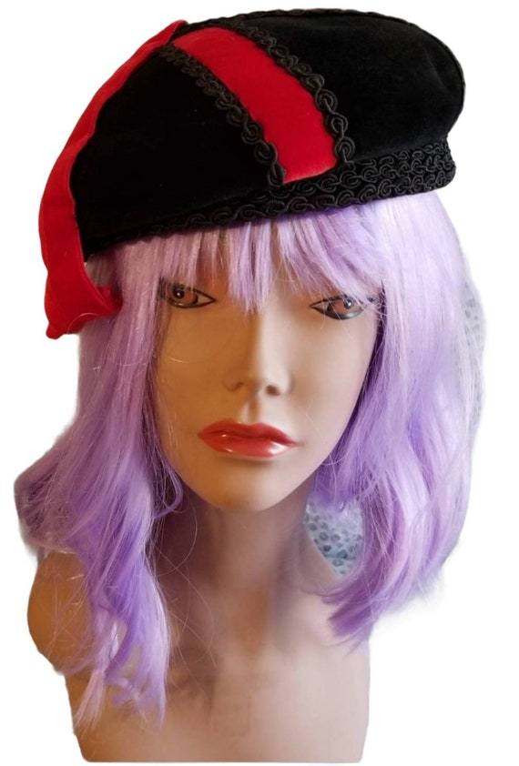 Anniversaire Velour Beret with Red Ribbon Accent … - image 2