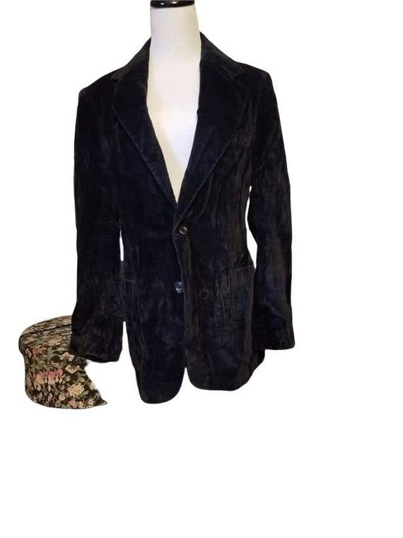 J. Riggings Black Velvet Unisex Blazer / 70s Black