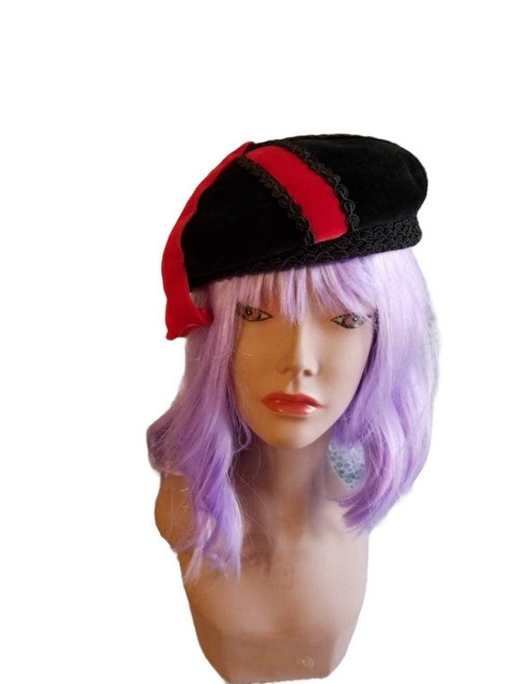 Anniversaire Velour Beret with Red Ribbon Accent … - image 1
