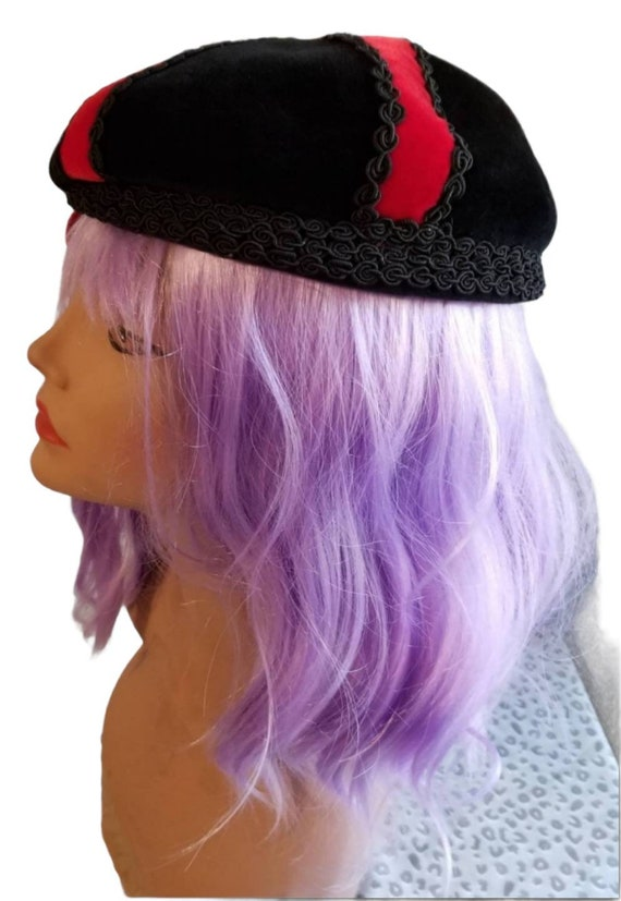 Anniversaire Velour Beret with Red Ribbon Accent … - image 3